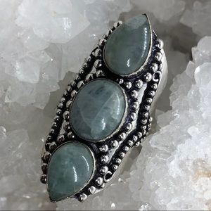 Long amazonite crystal ring stamped 925 ~7